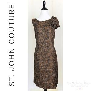 St. John Couture Metallic Jacquard Sheath Dress